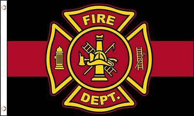 BLACK AND RED LINE FIRE DEPARTMENT EMBLEM 3 X 5 FLAG FL760 banner w grommets