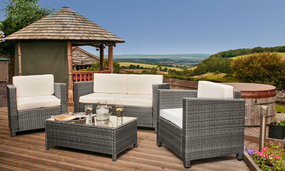 Garden Furniture - Rattan 4 seat Wicker Weave Garden Furniture Conservatory Sofa Set + RAIN COVER