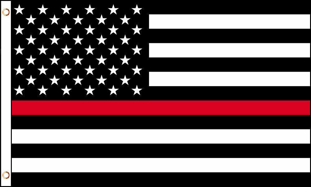 Thin Red Line American Flag 3×5 ft US Black & White firemen fire depart Support Décor