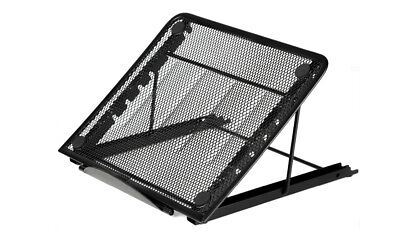 Black Mesh Ventilated Adjustable Laptop Tablet Stand Computer Cooling Holder