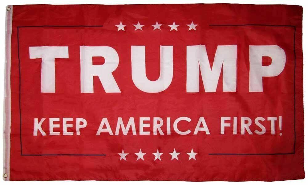 3x5 Trump Keep America First! Stars Red Woven Poly Nylon 5x3