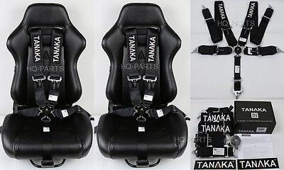 "2 X TANAKA UNIVERSAL BLACK 5 POINT CAMLOCK RACING SEAT BELT HARNESS 3"" SFI 16.1"