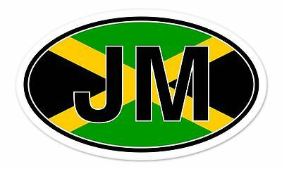 JM Jamaica Flag Oval car window bumper sticker decal 5