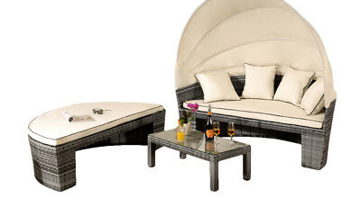 Garden Furniture - Rattan Sun Lounger Day Bed Outdoor Garden Furniture - Table & Canopy Sofa Set