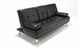 🥰✨HUGE 50% OFF SOFA BED WITH CUP HOLDER 3 SEATER LEATHER CLICK CLACK SOFABED SETTEE