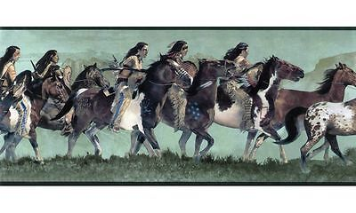 Native American Indian / Indians on the Hunt on Green Wallpaper Border WD4164B