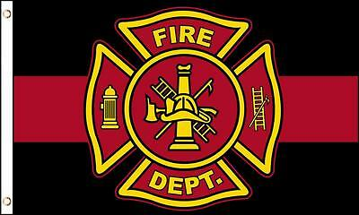 FIREFIGHTER EMBLEM RED LINE 3 X 5 FLAG FL735 honor pride fire fighter banner