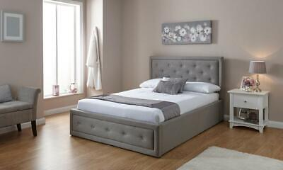 Fabric Diamante Ottoman Bed Frame In Silver Or Grey Single Double King