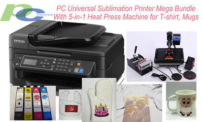 Pc Universal Sublimation Bundle With Printer 5-in-1 Heat Press T-shirtmugs