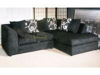 **7-DAY MONEY BACK GUARANTEE!** Brittany Italian Chenille Fabric Corner Sofa - SAME DAY DELIVERY!