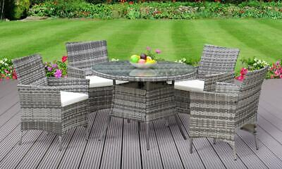 Garden Furniture - 5PC Rattan Dining Set Outdoor Garden Patio Furniture - 4 Chairs & Round Table