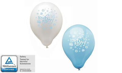 Luftballons 12 Stück IT'S A BOY Es ist ein Junge Geburt Baby-Party blau weiß