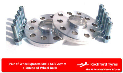 Wheel Spacers 20mm (2) 5x112 66.6 +Bolts For Mercedes M-Class ML [W164] 05-11