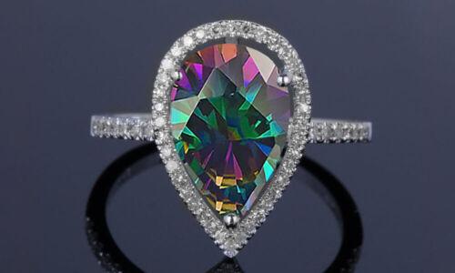 4.00 CTTW Genuine Rainbow Mystic Topaz Pear Cut Sterling Silver Ring