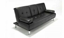 🥰✨EXCLUSIVE SALE SOFA BED WITH CUP HOLDER 3 SEATER LEATHER CLICK CLACK SOFABED SETTEE