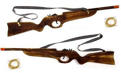 WOODEN LARGE 24 inch RIFLE GUN ELASTIC RUBBER BAND SHOOTER boys toy military NEW