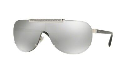 NEW VERSACE Aviator Pilot Shield Silver Mirror Lens Sunglasses VE 2140 1000/6G