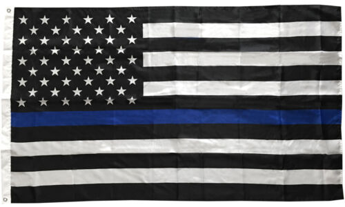 3x5 Thin Blue Line Flag USA Police Flag Polyester - b