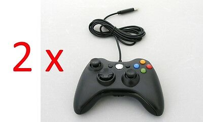 2 x Old Skool Wired XBOX 360 & PC Dual Analog Rumble Controllers - Black  for sale  Shipping to Canada
