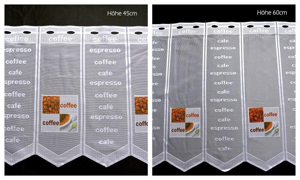 nach Maß- Scheibengardine Kaffee Höhe 45/60cm Kurzgardine Bistrogardine Cafe
