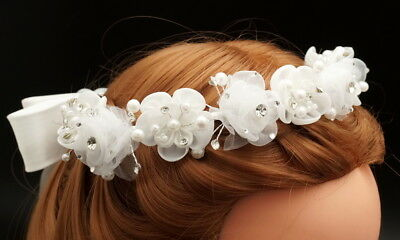 White Flower Girl Wreath First Communion Floral Headpiece Halo Tiara Crown ](First Communion Headpieces)