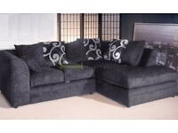**14-DAY MONEY BACK GUARANTEE!** *DELIVERED SAME DAY* Brittany Italian Chenille Fabric Corner Sofa