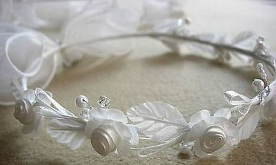 Ivory Flower Girl Headpiece (Set of 2 Ivory flower girl wreath halo headpiece with long)