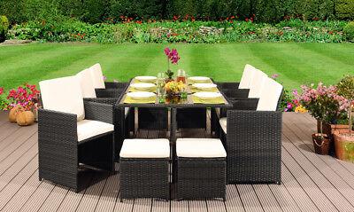 Garden Furniture - CUBE RATTAN GARDEN FURNITURE SET CHAIR SOFA TABLE OUTDOOR PATIO WICKER 10 SEATER