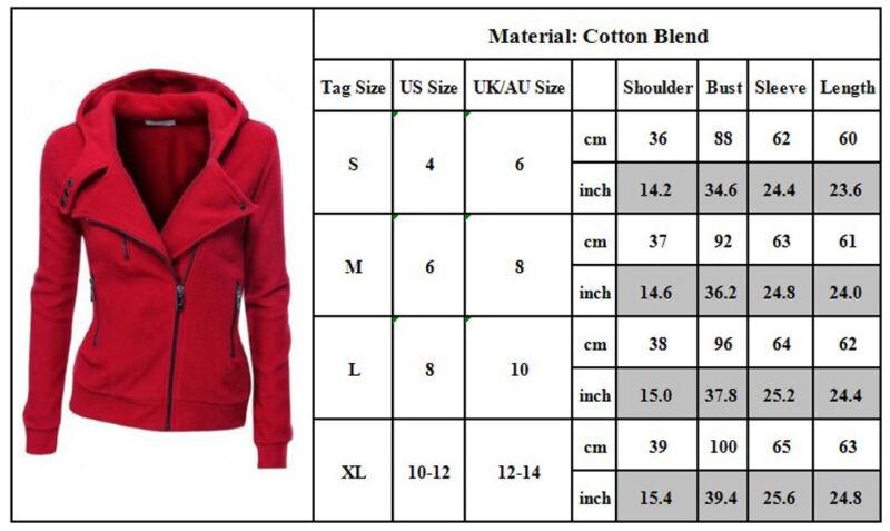 Winter Plain Zip Up Fleece Hoody Women Sweatshirt Coat Jacket Top Hoodies 4-14 11