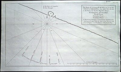 Antique map, Cruising off Acapulca on the coast of Mexico .. in the year 1742 …