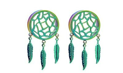 Rainbow Dreamcatcher Tunnel Plugs Sizes / Gauges (0G - 1 Inch)  -  1 -