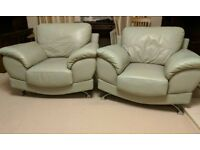 Leather Grey 3 Piece Suite (2 arm chairs + 3 seater sofa)