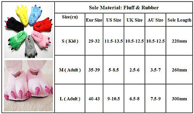 Adult Kid Animal Monster Feet Slippers Claw Dinosaur Paw Plush Indoor Shoes Gift