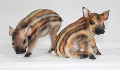 Wildschwein 2er Set Wild Schwein Ferkel Eber Figur Schweinchen  Glücksschwein