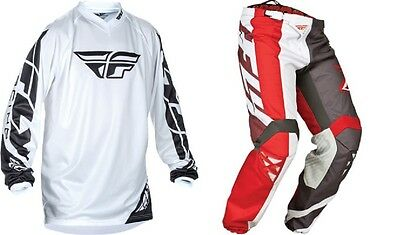 Fly Racing Red White  F16  Pant Jersey Combo Mx Off Road Riding Gear Set Atv