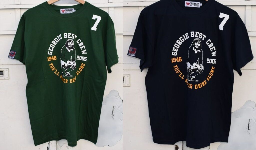 TERRACES MAGLIA T SHIRT GEORGE BEST CREW S M L XL XXL XXXL CASUAL FIRM BLU VERDE