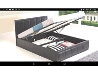 Black double ottoman bed without mattress