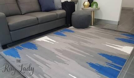 NEW!! Galaxy Blue Grey Lines Modern Rug