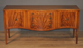 Attractive Vintage Flame Mahogany Regency Style Serpentine Sideboard Cabinet