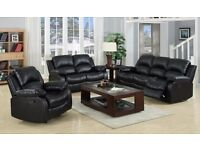 LEATHER 3 & 2 RECLINER SOFA SUITE BLACK / Brown