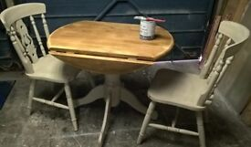 Pine drop side table with 2 chairs hand painted distressed finish Annie Sloan shade and wax