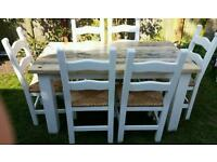 Handmade Shabby chic style dining / kitchen table with 6x chairs in very good condition