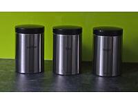 HALF PRICE - Set Of Three Brabantia Matt Steel Tea Coffee Sugar Canisters.