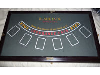 Free: Fold out poker table plus roulette/blackjack board combo and roulette spinner.
