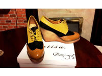 Ladies Lace Up Wedges Platform Shoes Worn Once Size 5 / 38