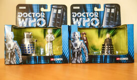 TWO DR WHO SETS - DAVROS AND DR WHO, DALEK AND CYBERMAN
