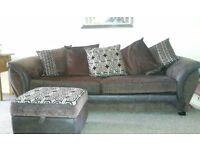 DFS 2 seater settee and storage footstool like new
