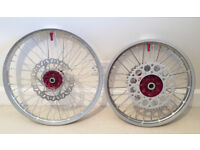 GENUINE HONDA MOTOCROSS WHEELS CR CRF 02-17 FRONT & REAR RED HUBS WAVY DISCS EXCELLENT CONDITION