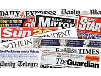 Delivery drivers wanted for newspapers delivery