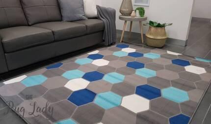 Brand New!!! Small Oceana Blue Grey Geometric Modern Rug